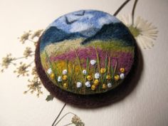 Needle felted brooch Felted landscapes Felted by FeltAccessories