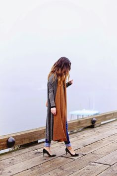 Long cardigan + oversized scarf