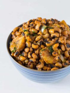 One Pot Beans and Plantains are an easy, healthy, and delicious West African recipe. Filling protein from the black-eyed beans, flavour from the palm oil and fish and a little hint of sweetness via the plantains.