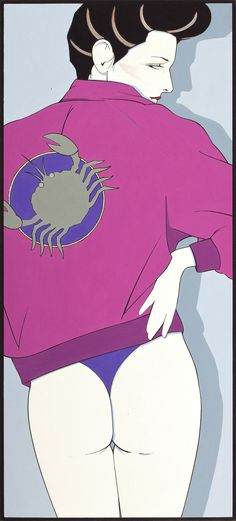 Patrick Nagel Zodiac, Playboy Pin-up Illustration Acrylic on Board 20 x 9