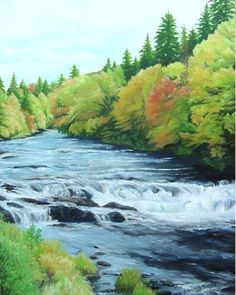 """""""Autumn Cascade"""" Connecticut River near the Bacon Road Covered Bridge, Pittsburg, NH, © 2019 Brenda L. Kenney, 20 x 16 Oil on Canvas SOLD Promised Land, White Mountains, Joy Of Life, Covered Bridges, New Hampshire, Connecticut, Oil On Canvas, Bacon, Original Paintings"""