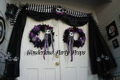 "Um, YES! Photo 2 of Nightmare Before Christmas / Halloween ""Halloween door entrance"" Nightmare Before Christmas Decorations, Nightmare Before Christmas Halloween, Halloween Door, Christmas Party Decorations, Halloween Birthday, Holidays Halloween, Baby Halloween, Christmas Themes, Christmas Door"
