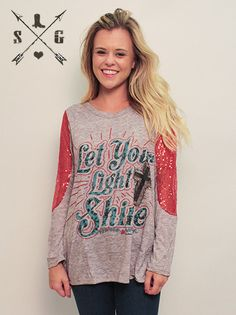 Let Your Light Shine on Grey with Red Sequin Lace Accent Sleeves