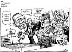 """This political cartoon shows hungry americans behind President Obama, who is planting our """"economy"""" and even added the """"stimulus growth formula"""" waiting for it to grow. He is assuring the Americans it will grow soon, a poke at how many Americans think the economy has not changed since Obama has been in office."""