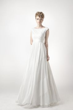 SADONI Collection 2014 - Dress SANNA draped in soft silk tulle with portrait back and striped skirt in structured tulle and chiffon