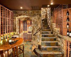Wine Cave, Home Wine Cellar Designs, Wine Tasting Room, Wine Storage, & Slate Stairs - Traditional Wine Cellar By Kga Studio Architects Wine Cellar Basement, Home Wine Cellars, Wine Cellar Design, Wine Tasting Room, Stone Stairs, Stone Walls, Italian Wine, Wine Storage, Storage Room
