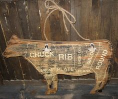 COW Butcher CHART SIGN*Message Board*Primitive/French Country Farmhouse Decor