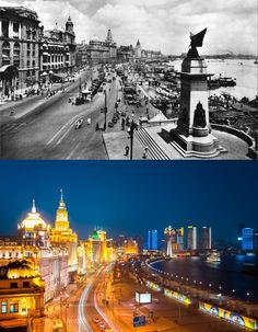 Then: The Bund was a major center of commerce in the 1920s. Now: Though other areas of Shanghai have been totally modernized, the historic buildings of the Bund remain intact.