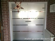 Glastür Mit Muster In Folie Geklebt Gesandstrahlte Optik Doppelflüglig  Pendeltür Glasdesign