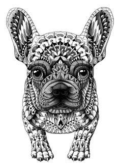 Cute cool ornately decorated black and white illustrated frenchie french bulldog bw animal pet illustration French Bulldog Tattoo, French Bulldog Art, French Bulldogs, Dog Coloring Page, Coloring Books, Colouring, Adult Coloring, Bulldogge Tattoo, Dibujos Zentangle Art