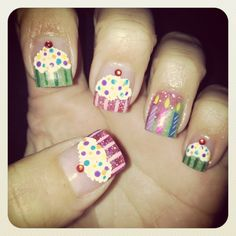 Cupcake and candle birthday nails