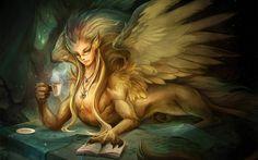 fantasy art   Wings Fantasy Art Sphinx 1920x1200 HD Wallpaper   i-moc.com #46498