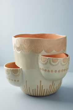 Slide View: Waterloo Pot Ceramics pottery home decor plants Anthropologie Slab Pottery, Ceramic Pottery, Pottery Vase, Clay Projects, Clay Crafts, Clay Pinch Pots, Pottery Handbuilding, Ceramic Pots, Porcelain Ceramic