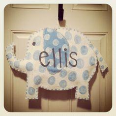 Baby boy elephant burlap door hanger
