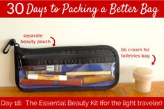 Aim for this! Day The Essential Travel Beauty Kit - Her Packing List Her Packing List, Packing Tips For Travel, Travel Essentials, Travel Ideas, Cruise Travel, Travel Usa, Beauty Kit, Best Bags, Packing Light