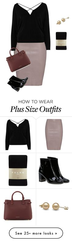 """plus size simple office look"" by xtrak on Polyvore featuring Jitrois, River Island, Yves Saint Laurent, Burberry and Falke"