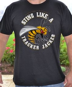 "The Hunger Games ""Sting Like A Tracker Jacker"" T-Shirt - how cool would this be for a sports motto?? haha love it."