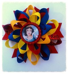 Snow White loopy hair bow/ disney princess boutique by natortiz23, $7.00