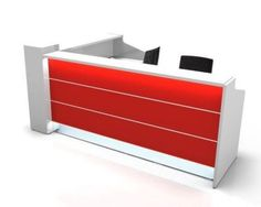 #RezeptionenEmpfangsTheken #Thekeklappbar #TresenBüro #EmpfangBüro  Valde L Shaped Reception Desks With Illuminted High Gloss Fronts In Red