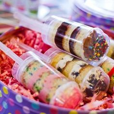 Cake Push Up Tubes With Caps	 -   Here's a nice clean way to serve cake. Perfect for a birthday party, or a bake sale.