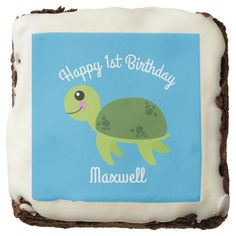 Shop Under the Sea Turtle Birthday Party Brownies created by SuperHappyFunTimes. Turtle Brownies, Sea Aquarium, Artificial Food Coloring, Confectioners Glaze, Seaside Theme, Happy 1st Birthdays, Animal Birthday, Chocolate Flavors, 1st Birthday Parties