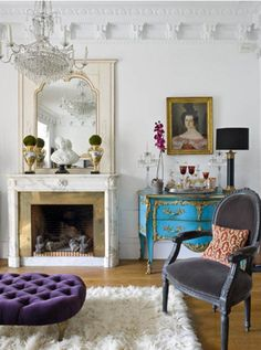 Parisian Apartment beautiful, feminine, lots of lovely white w/ great pops of color
