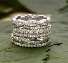 I'd rather have multiple, shiny stacked bands than a huge stone on a single, simple band