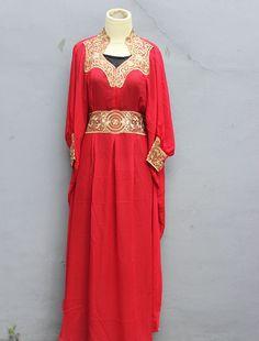 Red Maxi Dress Kaftan Abaya Dubai Caftan Batwing Farasha by Yosika