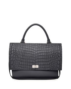 Shark Medium Stamped Crocodile Bag, Black  by Givenchy at Neiman Marcus.