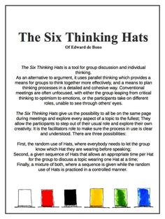 The Six Thinking Hats of Edward de Bono Six Thinking Hats, Thinking Maps, Creative Thinking, 6 Sigma, Writing Anchor Charts, Lean Six Sigma, Business Studies, Cooperative Learning, Critical Thinking Skills