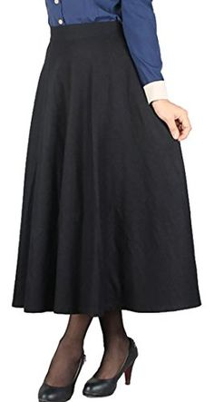 2a0355cc66 JWK Womens Wool Blend Winter Autumn High Waist Flared A line Skirts Black  Medium **. Long Maxi ...