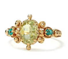 Peridot and emerald Victorian ring.