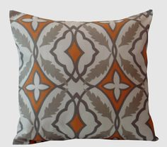 Pillow Covers. Orange / Gray Pillow Cover .  16 X 16  Accent Pillows  Throw Pillows  Decorative Throw Pillows