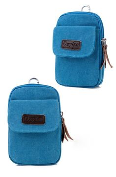Binmer(TM) New Retro Alphabet Zipper Casual Canvas Waist Bag Hang Package Phone Bag with Hook (Blue) ** Awesome outdoor product. Click the image : Travel Skincare