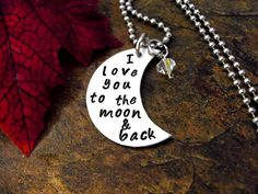 Moon Necklace Hand Stamped Charm Necklace I Love by CharmAccents, $25.00