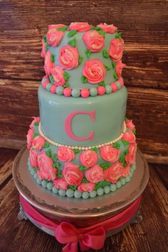 "10"", 8"" and 6"" Lilly Pulitzer cake  cakemydayorders@yahoo.com"