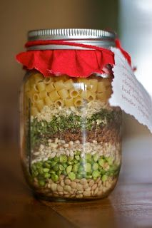 Organic Minestrone Soup Jars   Ingredients:  ¼ cup red lentils  ¼ cup green split peas  ¼ cup barley  1/3 cup vegetable bouillon powder  2 tbsp. parsley flakes  3 tbsp. onion flakes  1/3 tsp. thyme  1/3 tsp. pepper  1 tsp. basil  approx. ¼ cup ditalini pasta