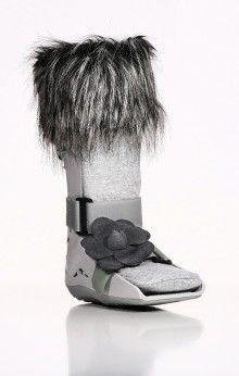 Go with the subtle warmth of this grey boot that includes the Grey Faux Fur Wrap-It, Grey Sock-It, and Grey Flower Strap-It - Retail $51