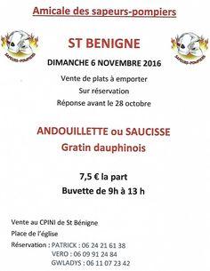 Andouillette et saucisses agrémentées de gratin dauphinois seront au menu des pompiers de Saint-Bénigne.