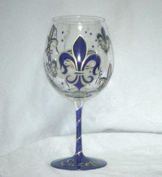 Fleur de Lis Pattern Hand Painted Wine Glass
