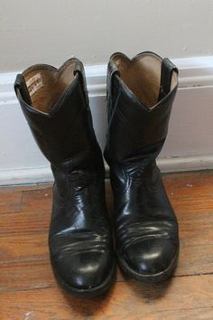 Cowtown Black Western Leather Boots WOMENS Size by milkandcookiess, $26.97