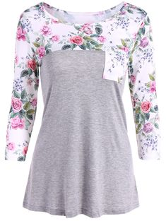 $13.89 One Pocket Floral Splicing T-Shirt