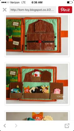 Idea Diy Toddler Books, Diy Quiet Books, Sensory Book, Animal Books, Busy Book, Felt Toys, Fabric Crafts, Sewing Projects, Activities