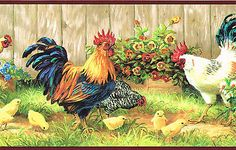 Country Brightly Color 3 Roosters Hens U0026 Chicks Sunflowers Wallpaper BordeR  Wall