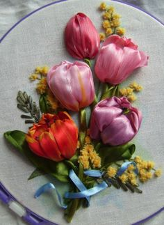 ribbon work tulips