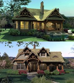 Bungalow House -- Love the porch and color Bungalow House Plans, Craftsman Style House Plans, Cottage House Plans, Country House Plans, Best House Plans, Cottage Ideas, Style At Home, Mediterranean Home Decor, Cabins And Cottages