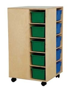 """Wood Designs - Cubby Spinner with Assorted Trays GREENGUARD® Children & Schools certified. 4-sided cubby spinner furnishes needed storage for a busy classroom. The unit has five color trays, (included), on each side, for a total of twenty storage bins. Made with 100% Healthy Kids™ Plywood and our exclusive Tuff-Gloss™ UV finish. Fully Assembled. On casters. 34""""H x 21""""W x 21""""D."""
