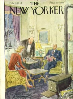 New Yorker cover Perry Barlow butler serves tea 2/13 1943