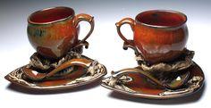 'Harvest Set' teacup, saucer and spoon set, cone 6 electric - crystal nykoluk- Pop Up Art, Art Market, Teacup, Spoon, Sculpting, Harvest, Electric, Earth, Ceramics