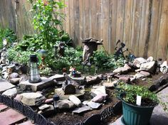 my fairy garden with small stream!